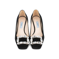Crystal Embellished Square Toe Pumps