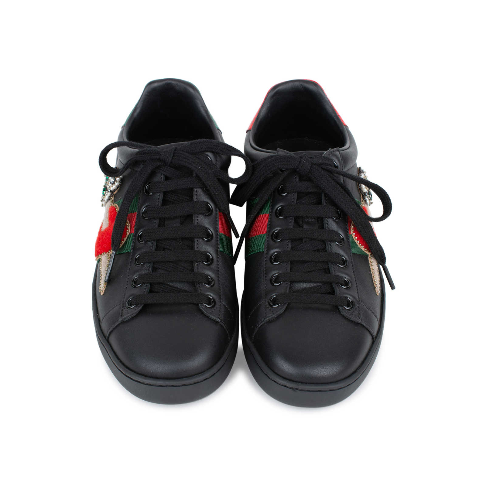 b3bde84a50f Authentic Second Hand Gucci Ace Pierced Heart Leather Sneakers  (PSS-145-00202) ...