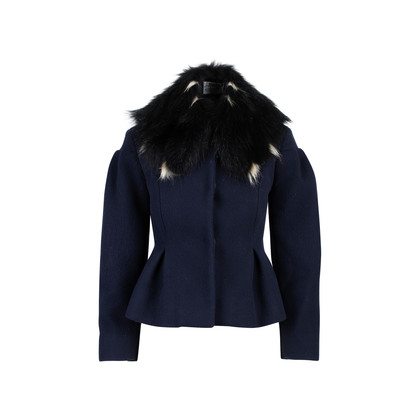 Authentic Second Hand Miu Miu Fur Collar Car Coat (PSS-515-00031)