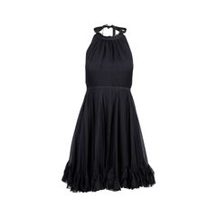 Black Ruffle Halter Neck Dress