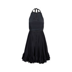 D g black ruffle halter neck dress 2?1537864386