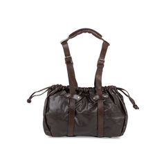 Cognac Leather Drawstring Satchel