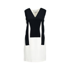 Silk Sleeveless Black and White Dress