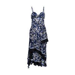 Brushstroke Print Asymmetric Tiered Silk Dress
