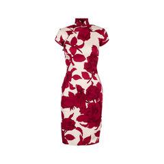 Rose Print Cotton Stretch Qipao Dress
