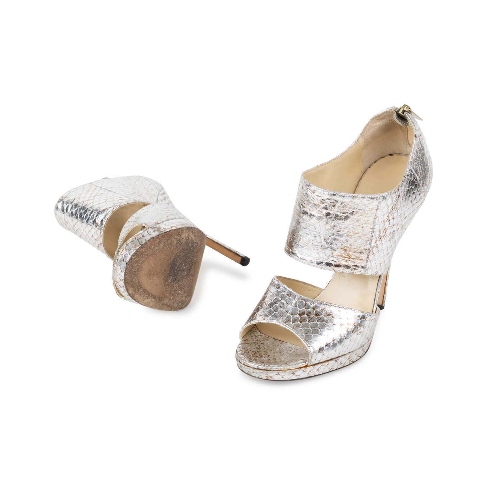 88c07deaf ... Authentic Second Hand Jimmy Choo Zipped Elaphe Snake Sandals  (PSS-557-00008) ...