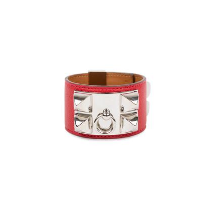 Authentic Pre Owned Hermès Rouge Casaque Palladium Epsom Collier de Chien (PSS-566-00044)