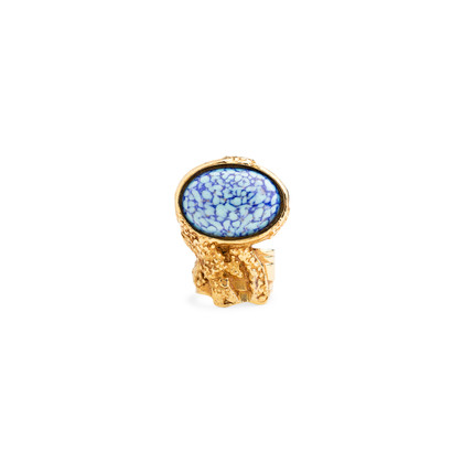 Authentic Second Hand Yves Saint Laurent Blue Arty Oval Ring (PSS-566-00059)