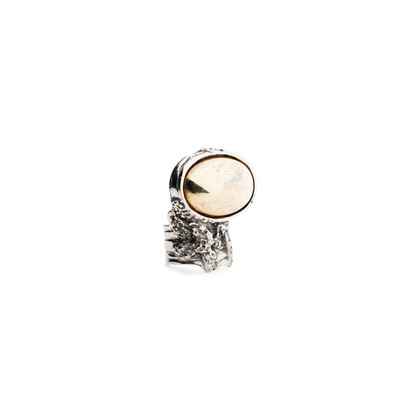 Authentic Second Hand Yves Saint Laurent Gold Stone Arty Oval Ring (PSS-566-00058)
