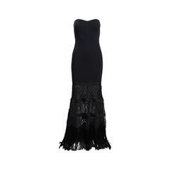 Strapless Fringe Gown