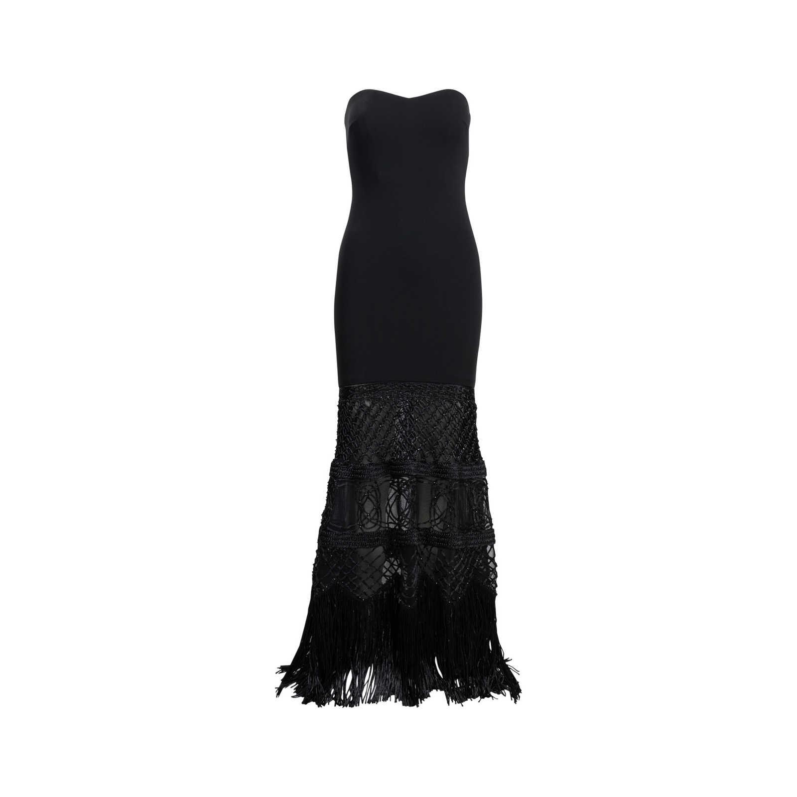 Authentic Second Hand Badgley Mischka Strapless Fringe Gown