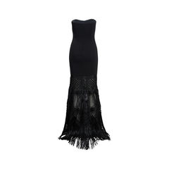 Badgley mischka strapless fringe gown 2?1539848588