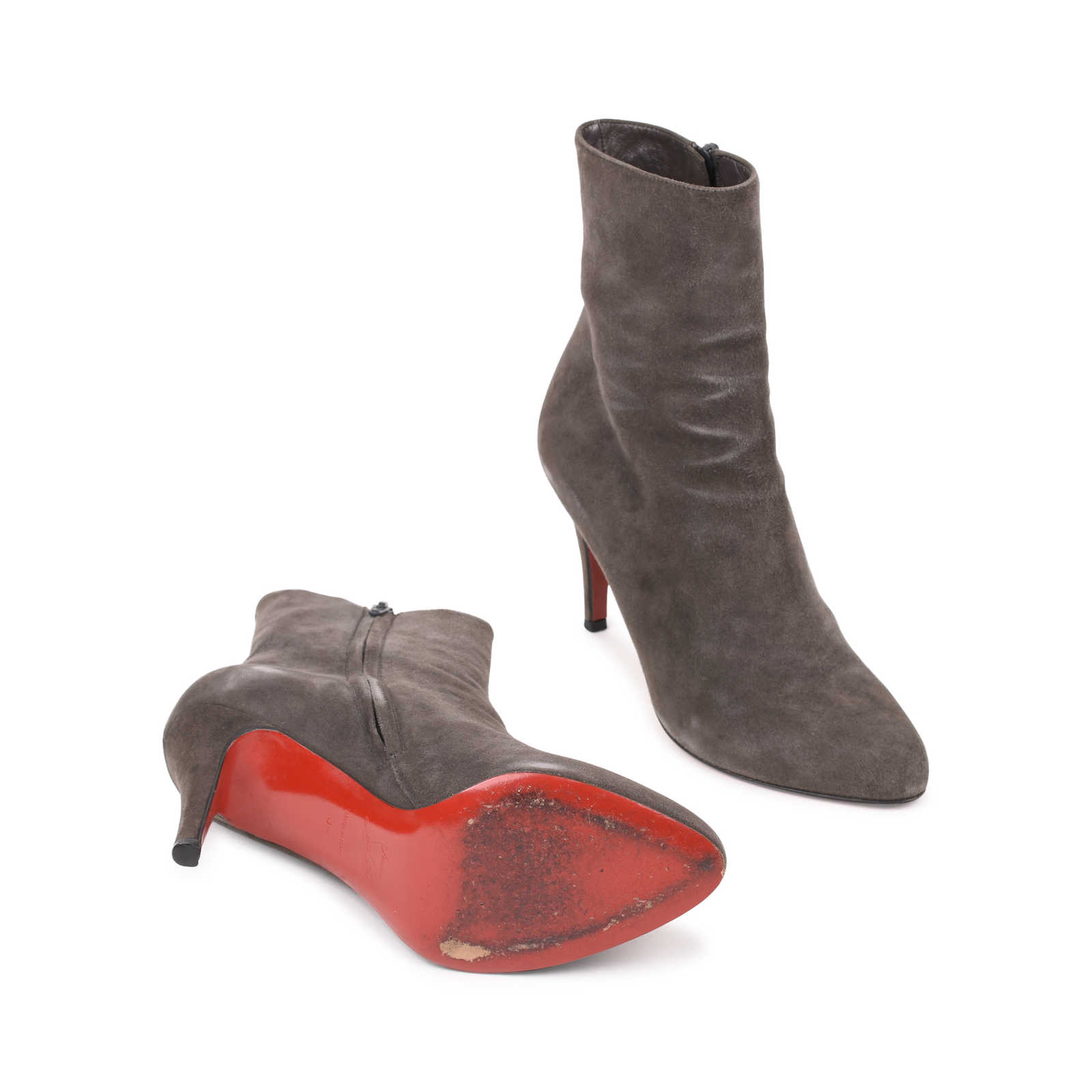78838349d86 Authentic Second Hand Christian Louboutin Top Suede Ankle Boots (PSS ...