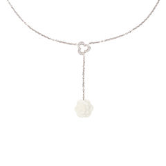 Diamond and Ceramic Calcedony Camellia Necklace