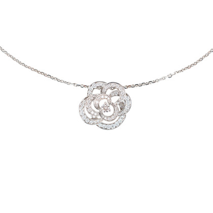 Authentic Pre Owned Chanel Diamond Camellia Pendant Necklace (PSS-515-00102)