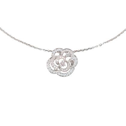 Authentic Second Hand Chanel Diamond Camellia Pendant Necklace (PSS-515-00102)