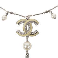 Chanel dangle double c pearl necklace metallic 2?1540198403