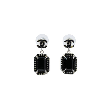 Authentic Second Hand Chanel Large Black Crystal Drop Earrings (PSS-515-00106)