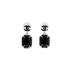 Large Black Crystal Drop Earrings