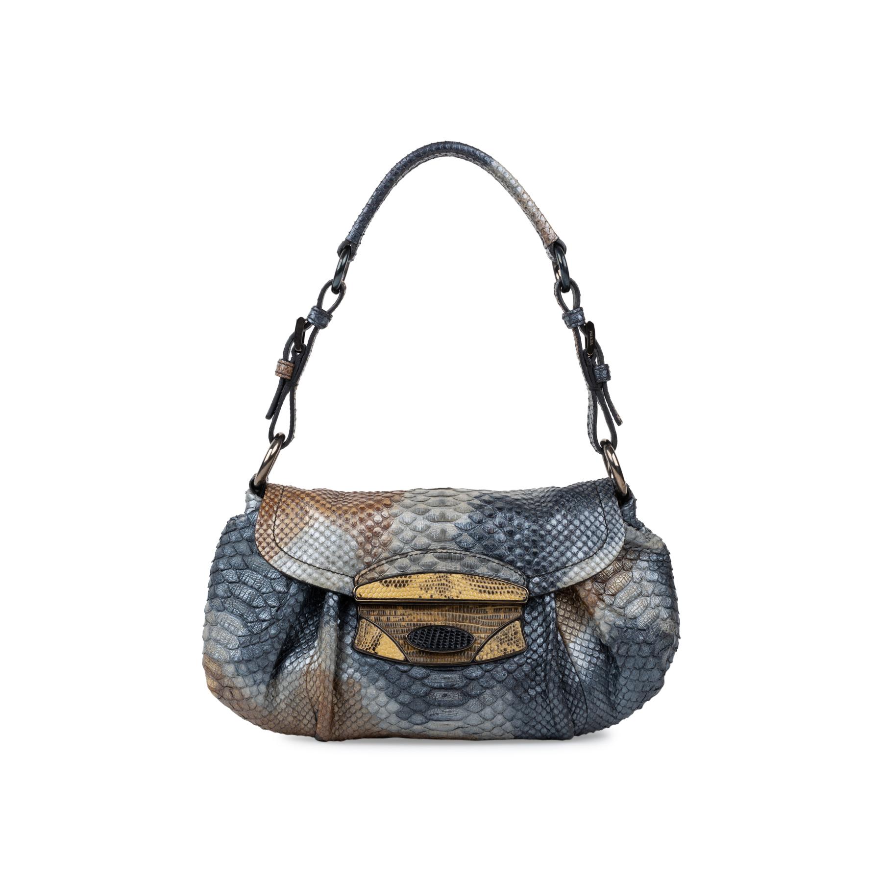 1cf44f133b Authentic Second Hand Prada Python and Lizard Pushlock Handbag  (PSS-534-00001)