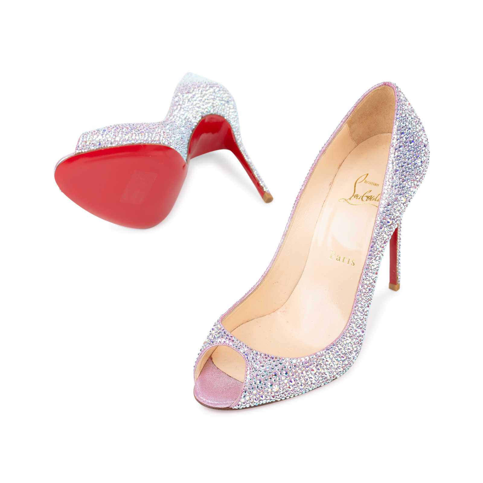 6b34521599caea ... Authentic Second Hand Christian Louboutin Sexy Strass Crystal Peep Toe  Pumps (PSS-534- ...