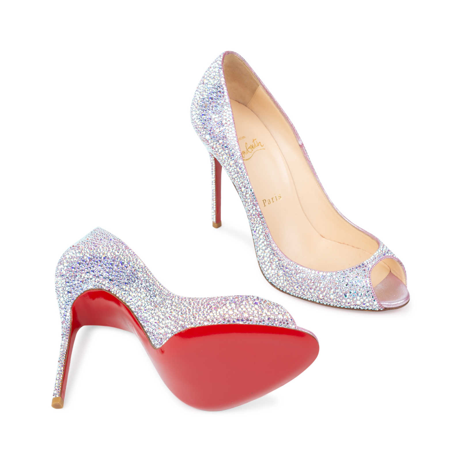 3c1d29b6a3bf ... Authentic Second Hand Christian Louboutin Sexy Strass Crystal Peep Toe  Pumps (PSS-534- ...