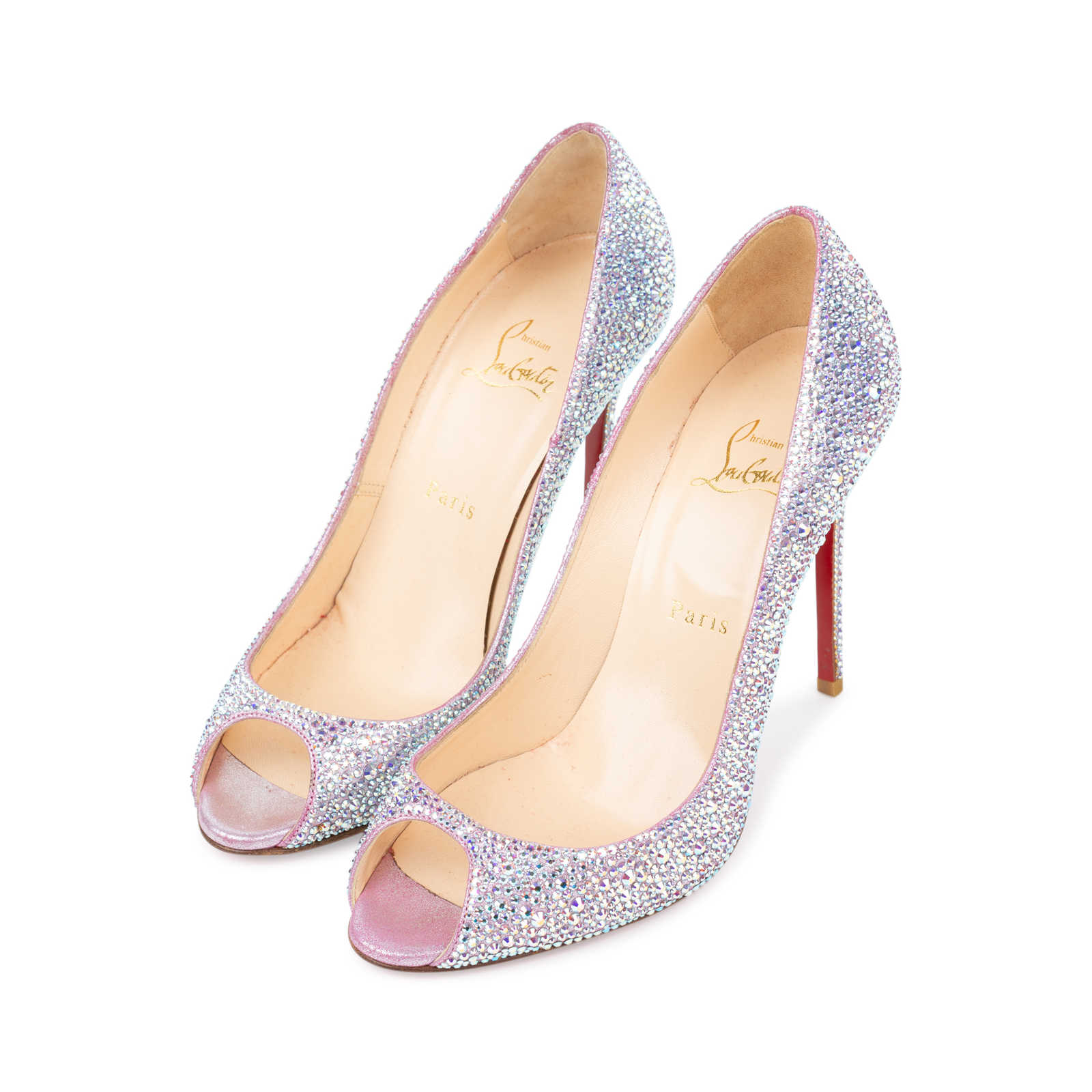 e015586451d1 ... Authentic Second Hand Christian Louboutin Sexy Strass Crystal Peep Toe  Pumps (PSS-534- ...