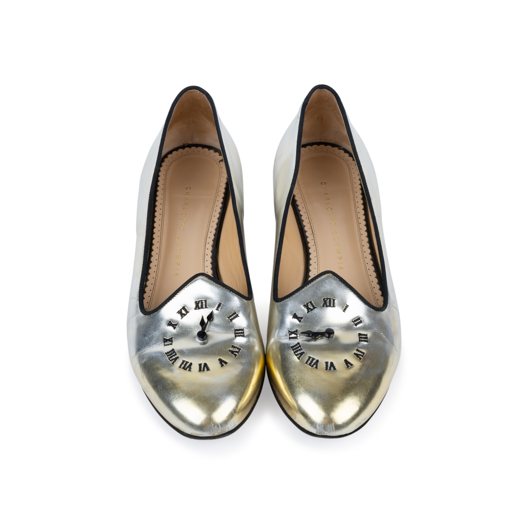 dc3851bb7 Authentic Second Hand Charlotte Olympia Fashionably Late Clock Face Slippers  (PSS-552-00035)