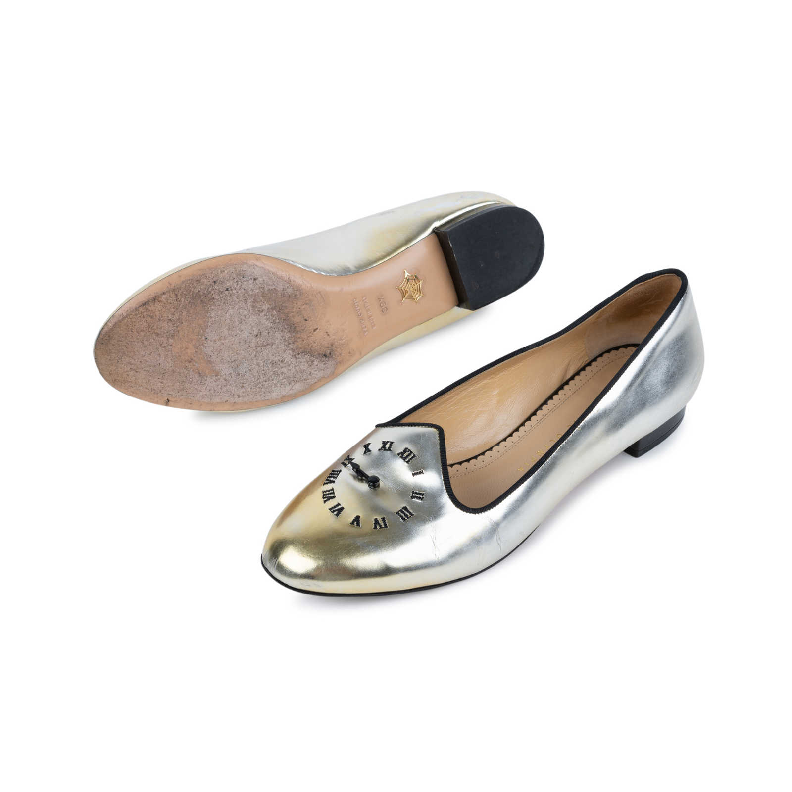 e70aa27e9 ... Authentic Second Hand Charlotte Olympia Fashionably Late Clock Face  Slippers (PSS-552-00035 ...