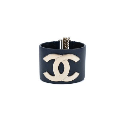 Authentic Pre Owned Chanel 'CC' Leather Cuff Bracelet (PSS-559-00004)