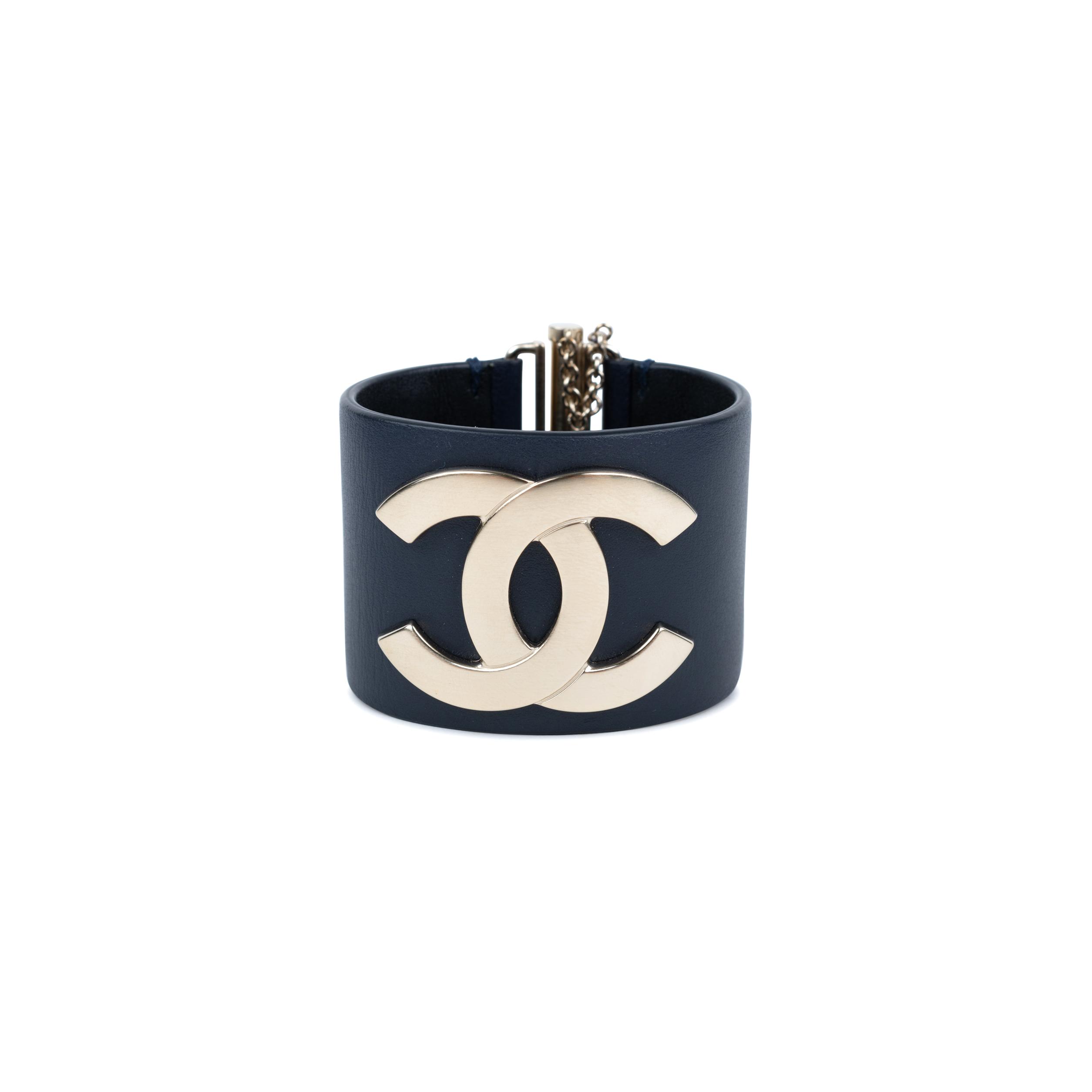 Authentic Pre Owned Chanel  CC  Leather Cuff Bracelet (PSS-559-00004 ... 10a1e6e25d21