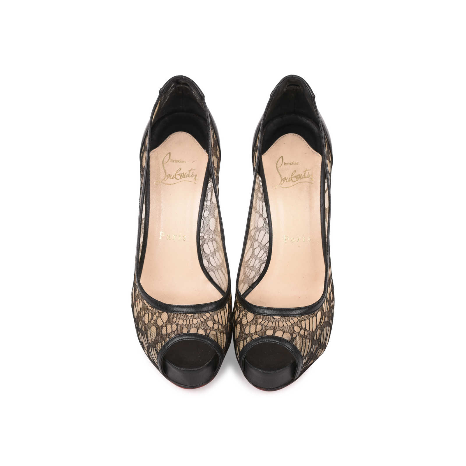 new arrival 26fac e4d8e Authentic Second Hand Christian Louboutin Very Lace Peep Toe ...