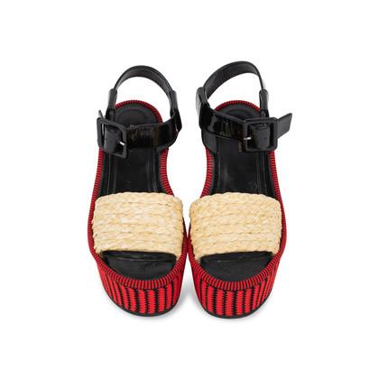 Authentic Pre Owned Céline Straw Flatform Sandals (PSS-559-00019)