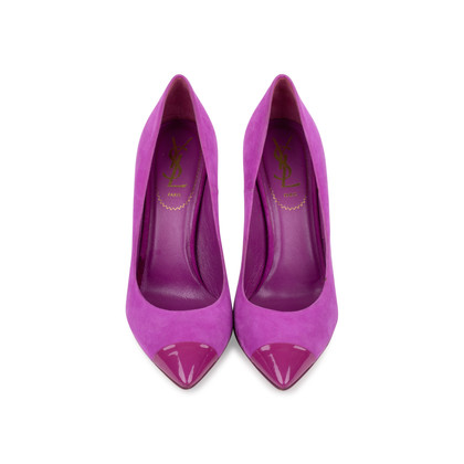 Authentic Second Hand Yves Saint Laurent Purple Suede Pumps (PSS-559-00020)