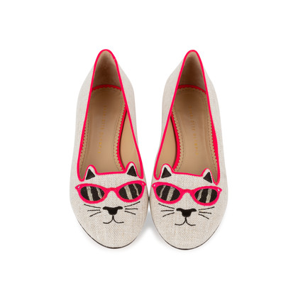 Authentic Second Hand Charlotte Olympia Sunkissed Kitty Embroidered Flats (PSS-569-00010)