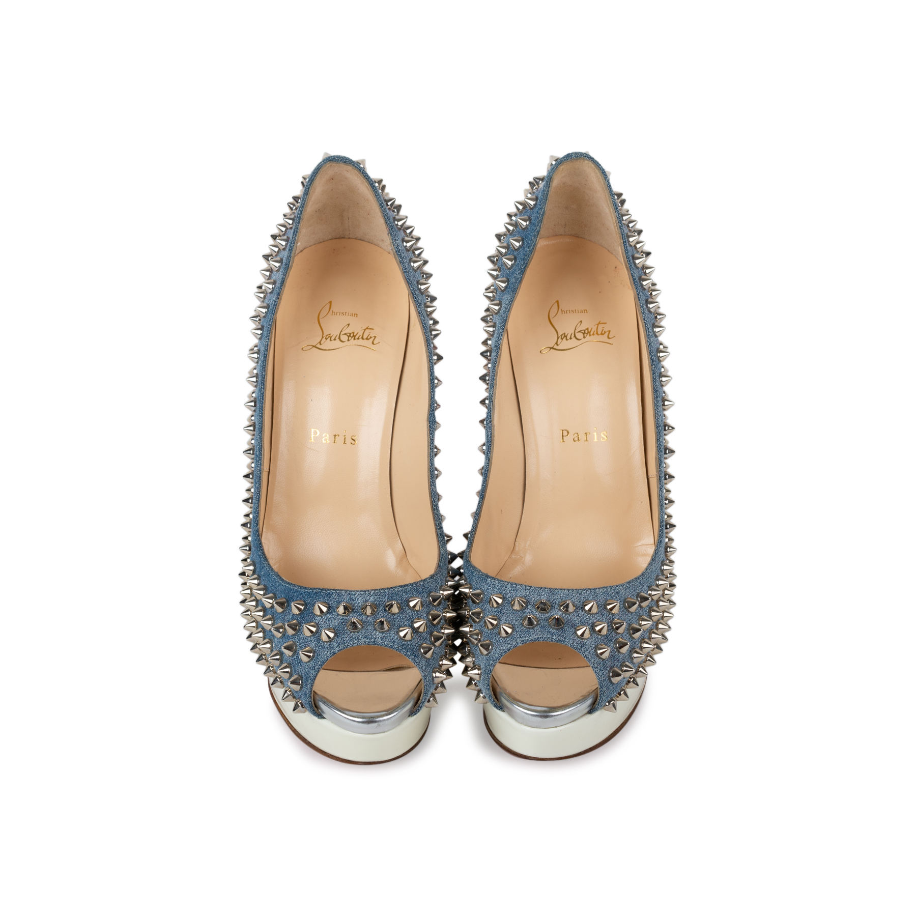 new arrival 24c8c 631a1 Lady Peep Denim Spiked Pumps