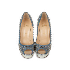 Lady Peep Denim Spiked Pumps