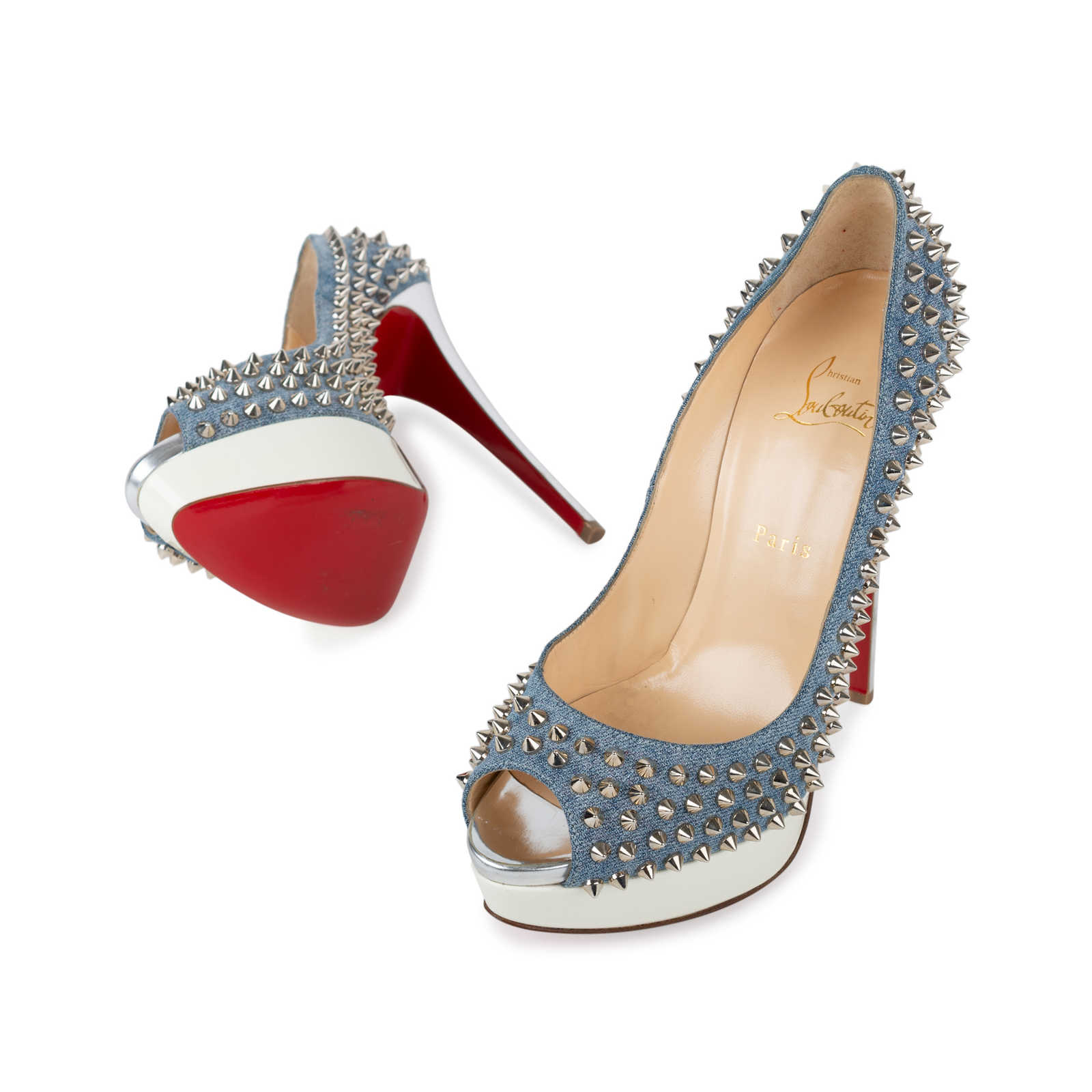 ed356d834272 ... Authentic Second Hand Christian Louboutin Lady Peep Denim Spiked Pumps  (PSS-569-00018 ...