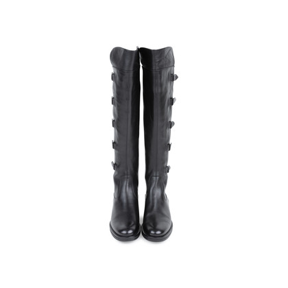 Authentic Pre Owned Emporio Armani Stretch Detail Leather Boots (PSS-099-00022)