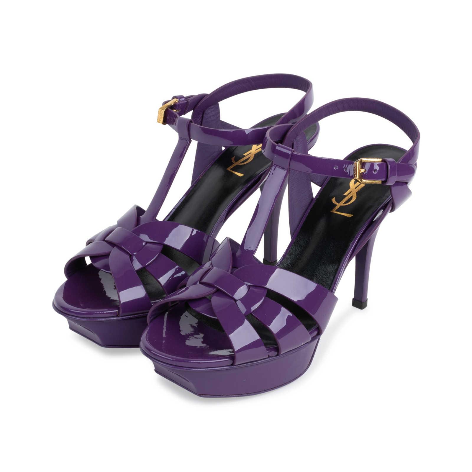 b5b6b4b4ab25 ... Authentic Second Hand Yves Saint Laurent Purple Tribute Sandals (PSS-566-00075)  ...