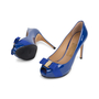 Authentic Second Hand Salvatore Ferragamo Plum Peep Toe Pumps (PSS-566-00101) - Thumbnail 1