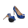 Authentic Second Hand Salvatore Ferragamo Plum Peep Toe Pumps (PSS-566-00101) - Thumbnail 2