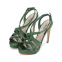 Authentic Pre Owned Miu Miu Criss Cross Python Platform Sandals (PSS-566-00105) - Thumbnail 3