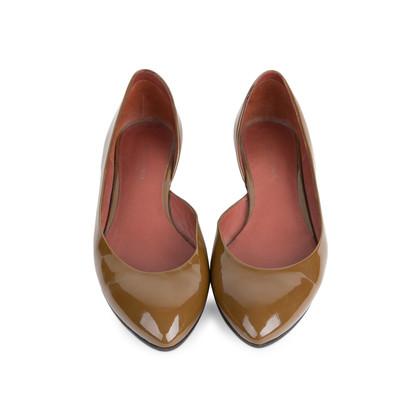Authentic Second Hand Bottega Veneta Patent D'Orsay Flats (PSS-556-00013)