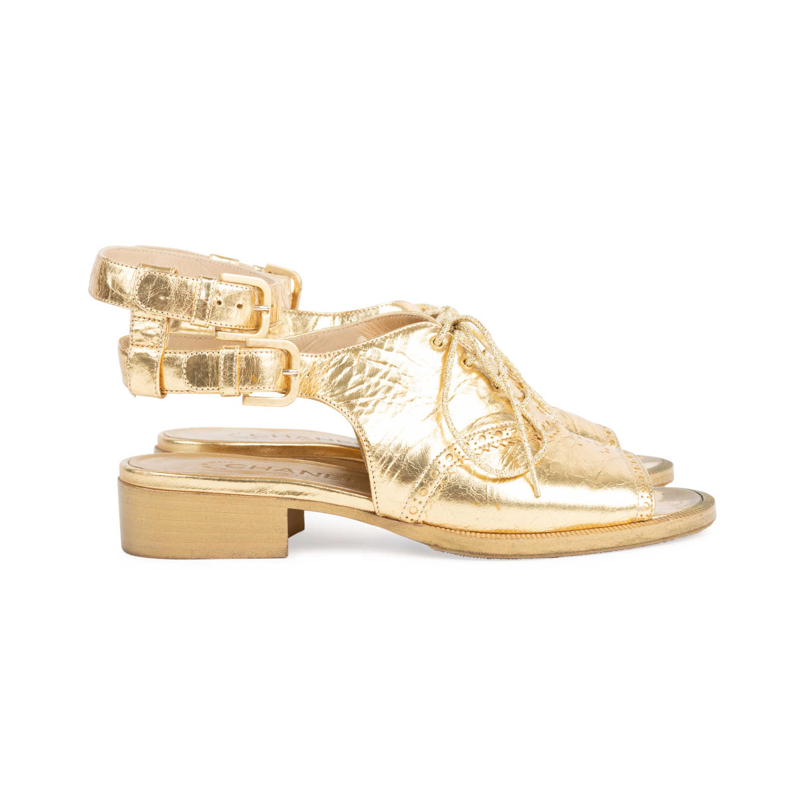 d9ef50f482e ... Authentic Second Hand Chanel Metallic Oxford Sandals (PSS-575-00038) -  Thumbnail ...