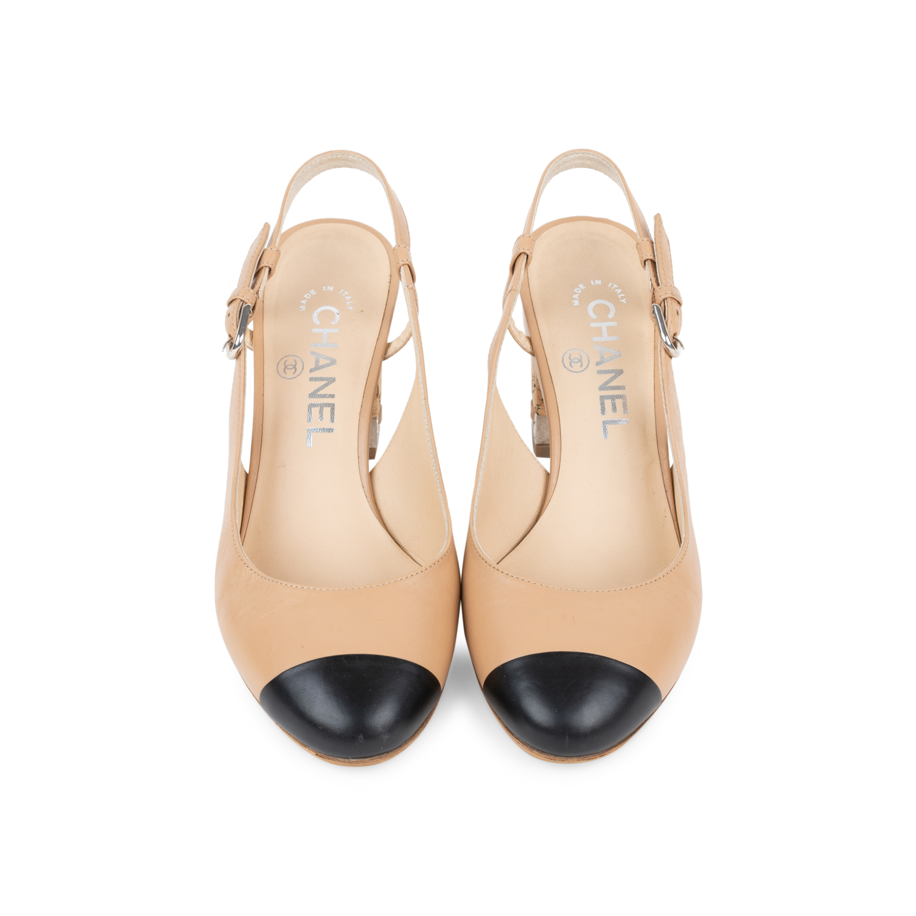 b605f2544f5 Authentic Second Hand Chanel Cap Toe Slingback Sandals (PSS-575-00039)
