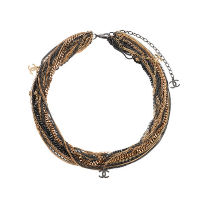 Authentic Pre Owned Chanel Two-Tone Multistrand Chain Necklace (PSS-575-00042)