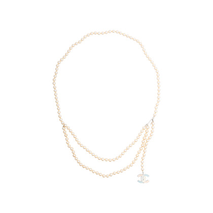 Authentic Pre Owned Chanel Enamel CC Pearl Necklace (PSS-575-00044)