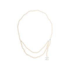 Enamel CC Pearl Necklace