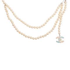 Chanel enamel cc pearl necklace 2?1542094659